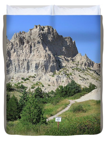 Cliff Shelf Trail In Badlands National Park South Dakota Duvet Cover by Louise Heusinkveld