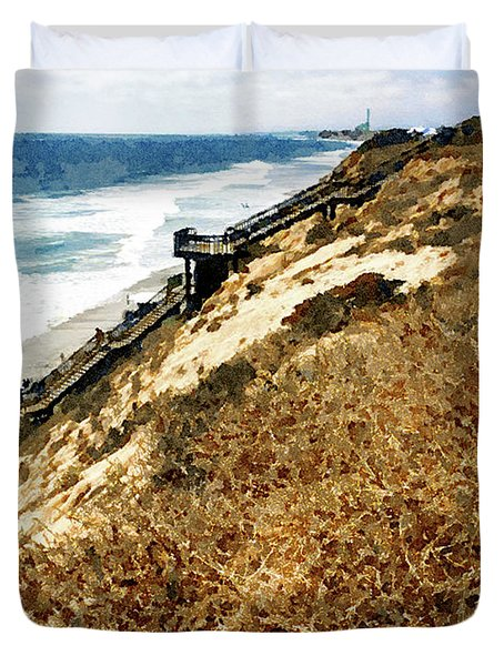 Cliff View - Carlsbad Ponto Beach Duvet Cover