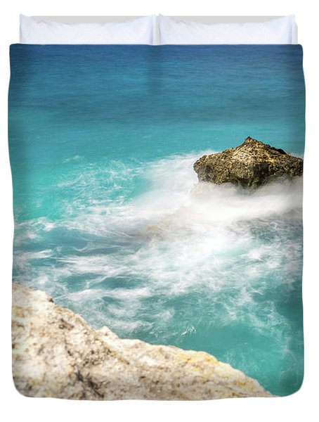 Cliff Views In Negril Duvet Cover