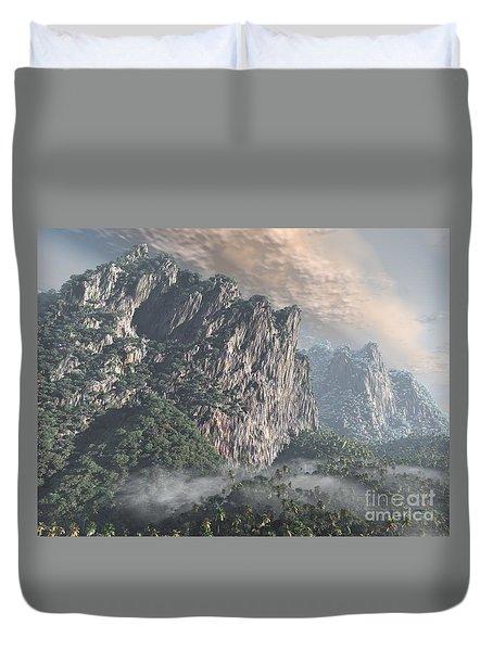 Duvet Cover featuring the sculpture Cliffs And Jungle by Dave Luebbert