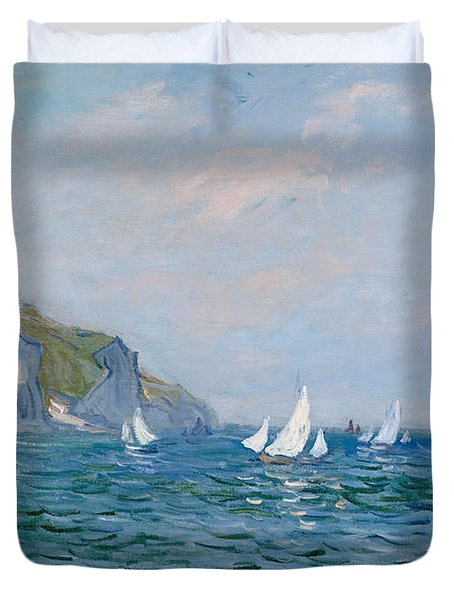 Cliffs And Sailboats At Pourville  Duvet Cover by Claude Monet