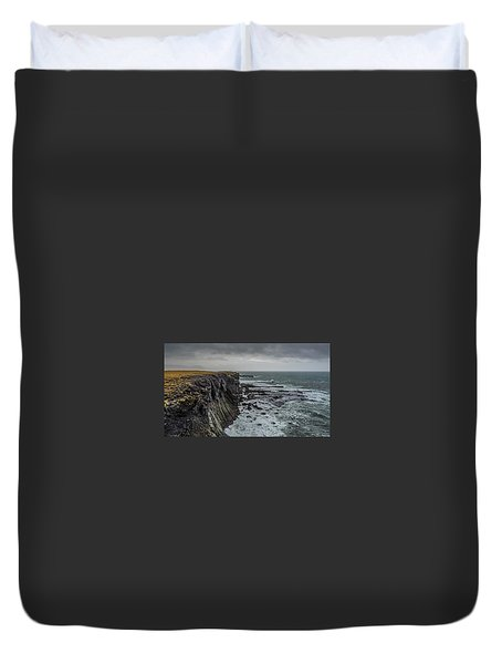 Duvet Cover featuring the photograph Cliffs At Arnarstapi by James Billings