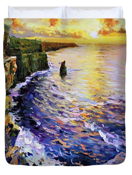 Cliffs Of Moher At Sunset Duvet Cover by Conor McGuire
