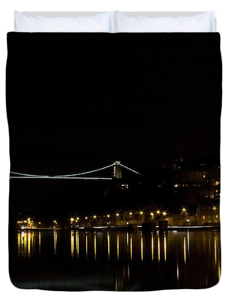 Clifton Suspension Bridge At Night Duvet Cover