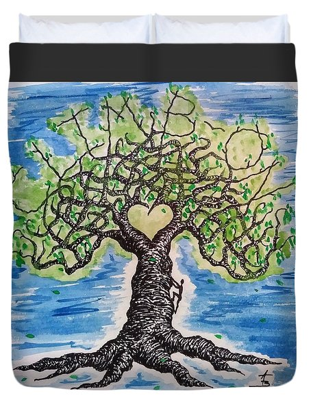 Duvet Cover featuring the drawing Climb-on Love Tree by Aaron Bombalicki