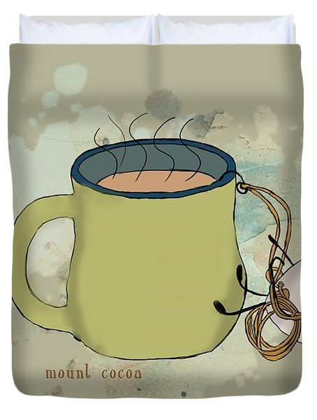 Climbing Mt Cocoa Illustrated Duvet Cover by Heather Applegate