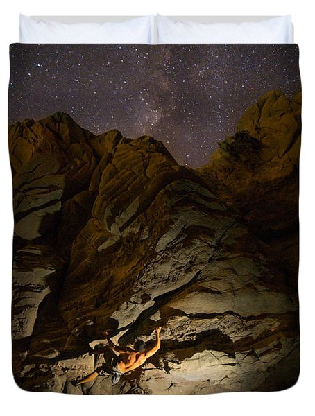 Climbing To The Milky Way Duvet Cover