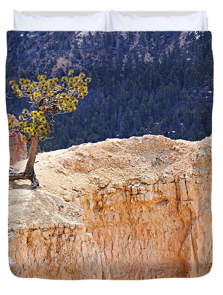 Clinging To The Top Of The Wall Duvet Cover