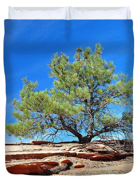Clinging Tree In Zion National Park Duvet Cover