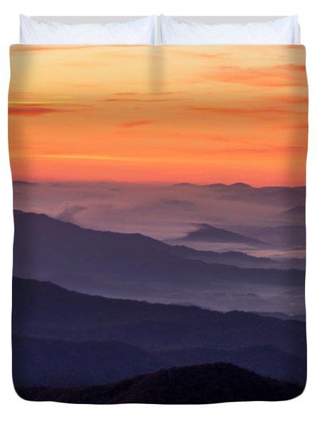 Clingmans Dome Fall Sunrise Duvet Cover