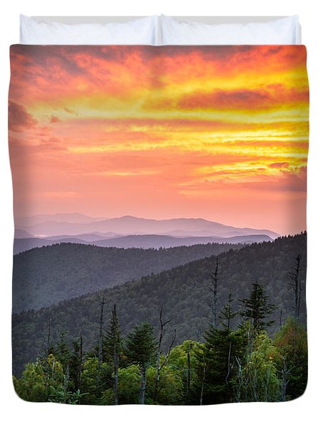 Clingmans Dome Great Smoky Mountains - Purple Mountains Majesty Duvet Cover