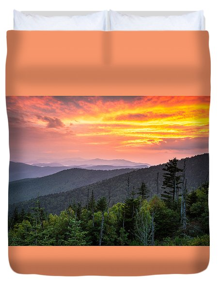 Clingmans Dome Great Smoky Mountains - Purple Mountains Majesty Duvet Cover by Dave Allen