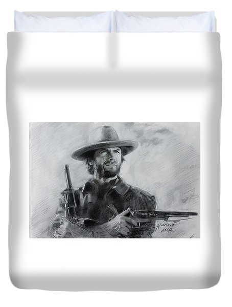 Duvet Cover featuring the drawing Clint Eastwood by Viola El