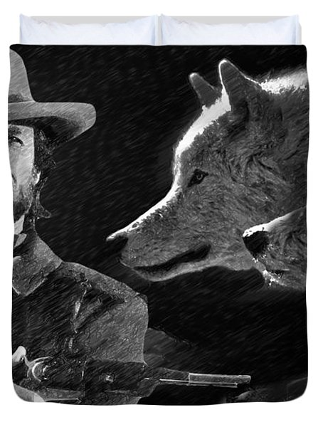 Duvet Cover featuring the painting Clint Eastwood With Wolves by Ericamaxine Price