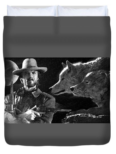 Clint Eastwood With Wolves Duvet Cover