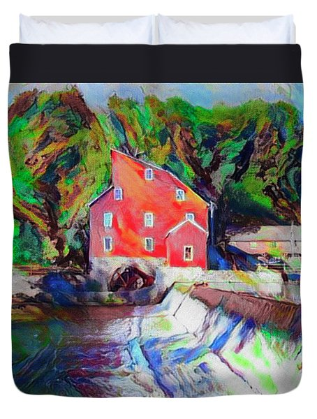Clinton New Jersey -the Red Mill  On The Raritan River  Watercol Duvet Cover by Bill Cannon