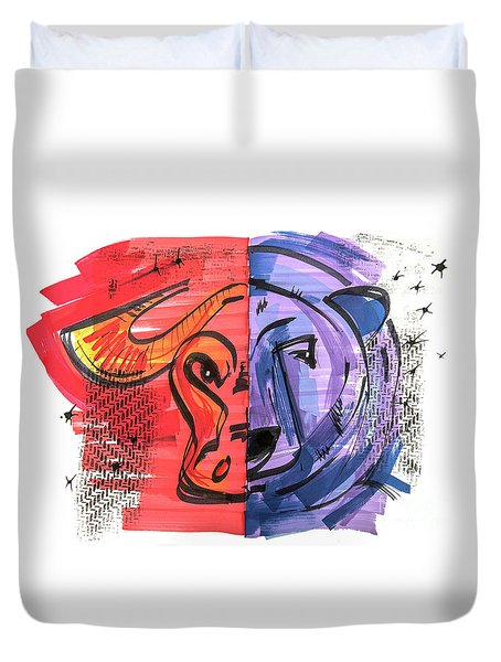 Duvet Cover featuring the drawing Clip Art Of Bear And Bull Of Stock Market by Ariadna De Raadt