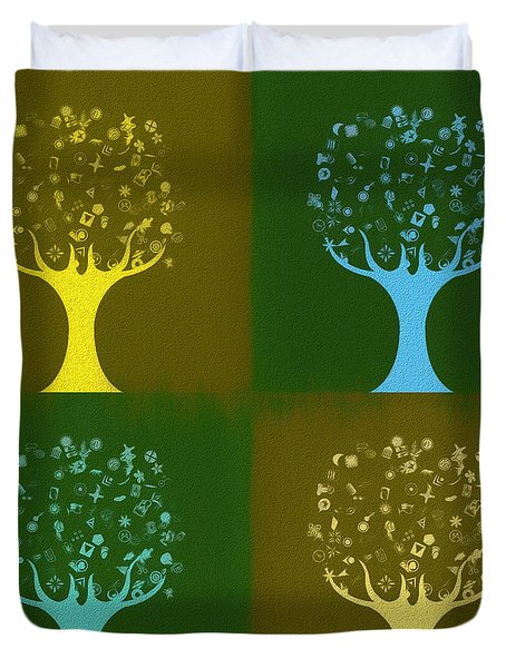 Duvet Cover featuring the mixed media Clip Art Trees by Dan Sproul
