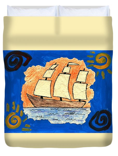 Clipper Boat To Victory Duvet Cover by Artists With Autism Inc