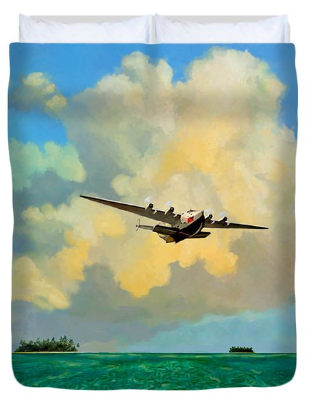 Clipper Over The Islands Duvet Cover