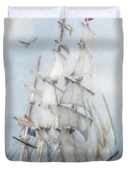 Duvet Cover featuring the painting Clipper Ship In Sail by Chris Armytage
