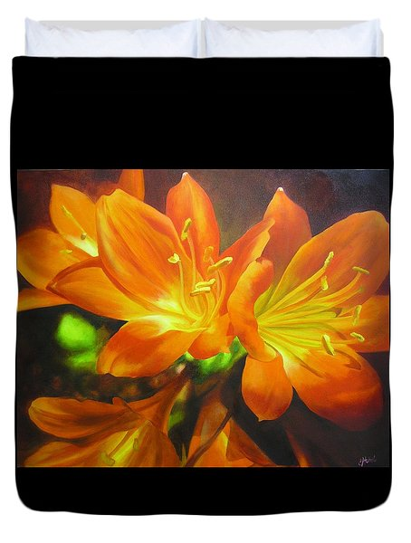 Duvet Cover featuring the painting Clivias by Chris Hobel