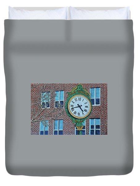 Clock At Port Warwick Duvet Cover by Micah Mullen