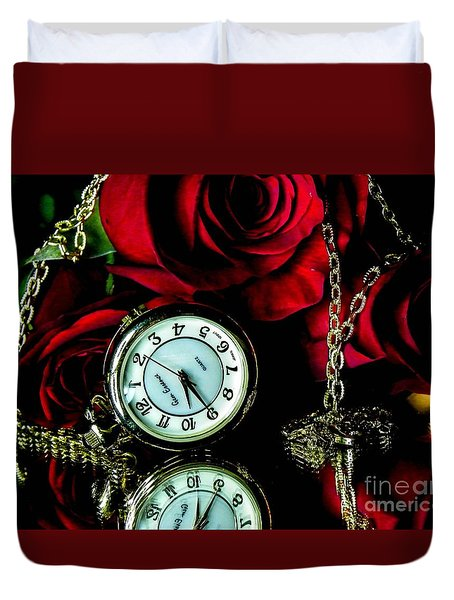 Clock-rose Duvet Cover
