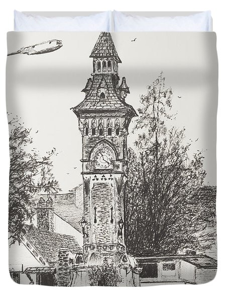 Clock Tower  Hay On Wye Duvet Cover