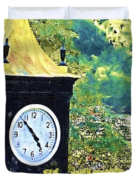Duvet Cover featuring the photograph Clock Tower In The Garden by Donna Bentley