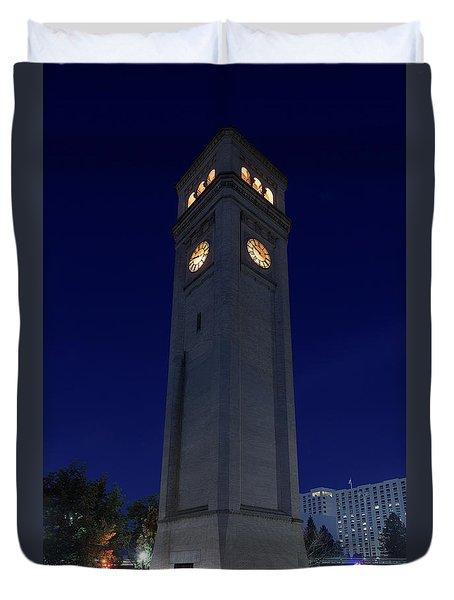 Clock Tower Spokane W A Duvet Cover