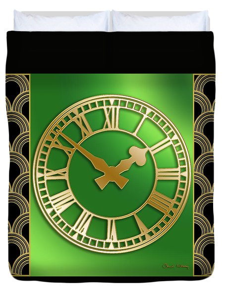 Duvet Cover featuring the digital art Clock With Border by Chuck Staley