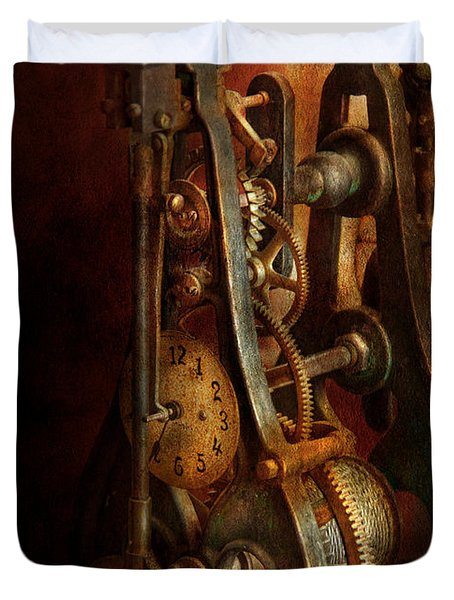Clockmaker - Careful I Bite Duvet Cover by Mike Savad