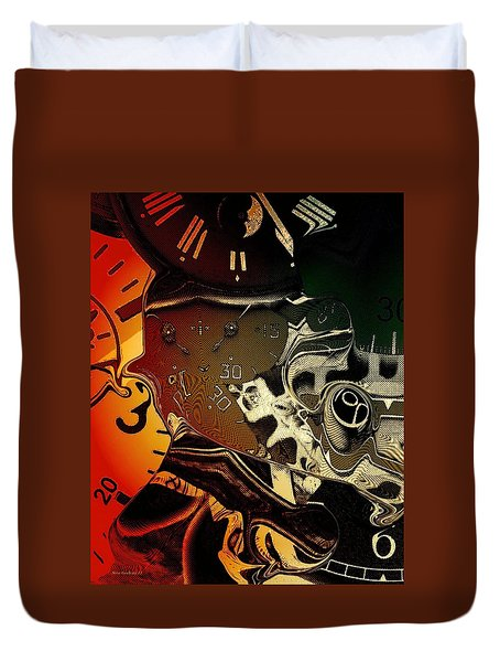 Duvet Cover featuring the photograph Clockwork by Steve Godleski