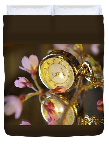 Clock - Flower Duvet Cover