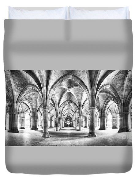 Cloister Black And White Panorama Duvet Cover