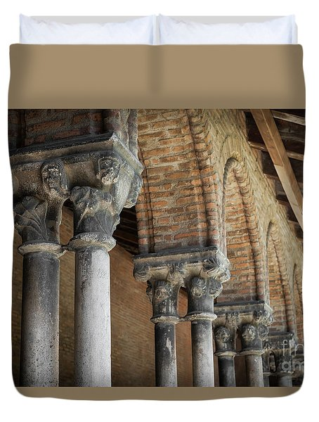 Duvet Cover featuring the photograph Cloister Columns, Couvent Des Jacobins by Elena Elisseeva
