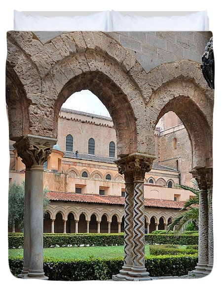 Cloister Of The Abbey Of Monreale. Duvet Cover by RicardMN Photography