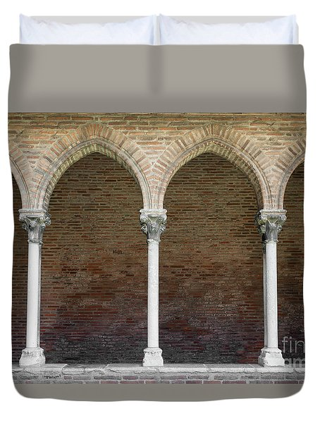 Duvet Cover featuring the photograph Cloister With Arched Colonnade by Elena Elisseeva