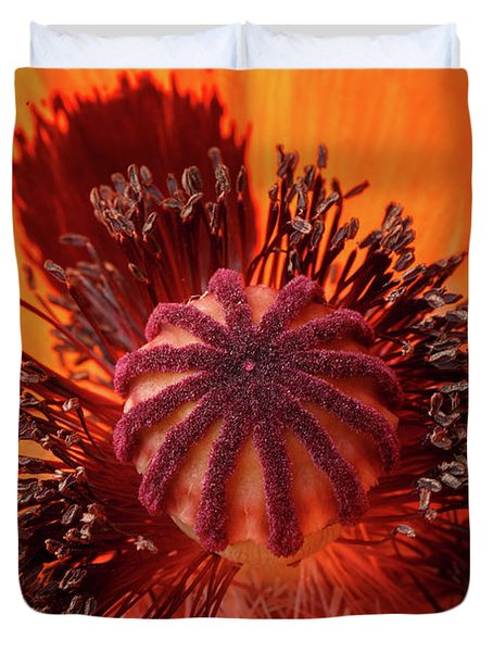 Close-up Bud Of A Red Poppy Flower Duvet Cover