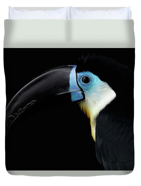 Close-up Channel-billed Toucan, Ramphastos Vitellinus, Isolated On Black Duvet Cover by Sergey Taran