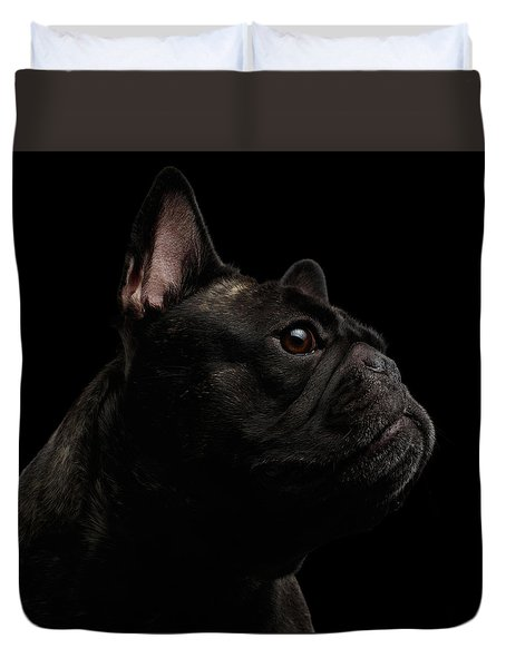 Close-up French Bulldog Dog Like Monster In Profile View Isolated Duvet Cover