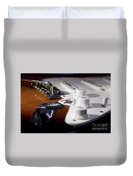 Duvet Cover featuring the photograph Close Up Guitar by MGL Meiklejohn Graphics Licensing