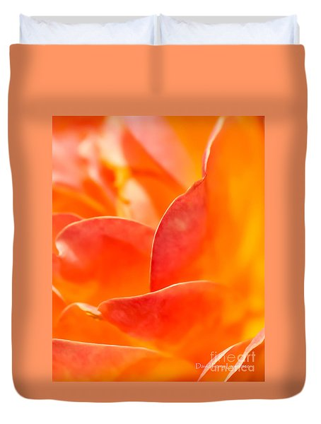 Duvet Cover featuring the photograph Close-up Of An Orange Rose Flower by David Perry Lawrence
