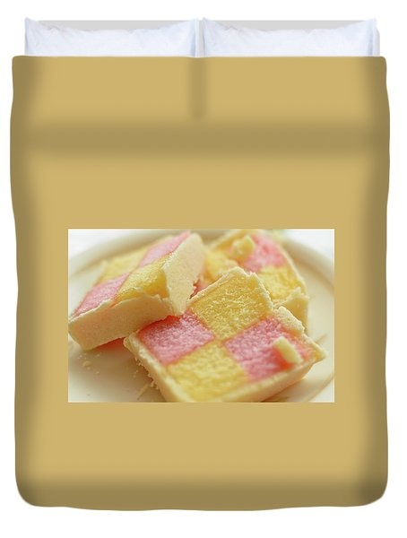 Close Up Of Battenberg Cake E Duvet Cover