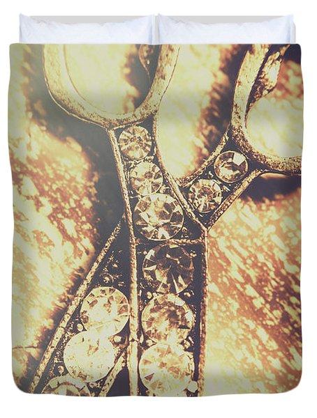 Close Up Of Jewellery Scissors Of Bronze Duvet Cover