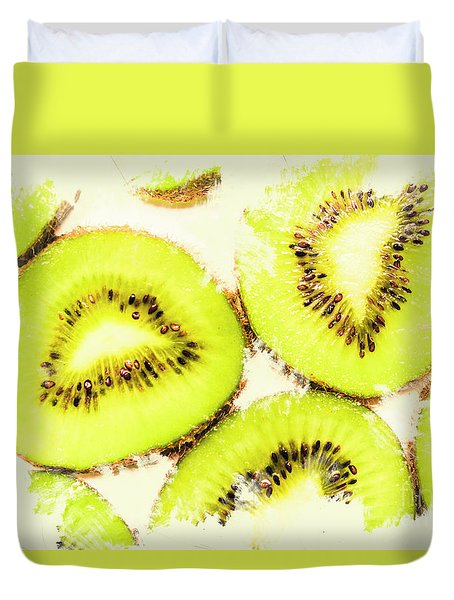 Close Up Of Kiwi Slices Duvet Cover by Jorgo Photography - Wall Art Gallery