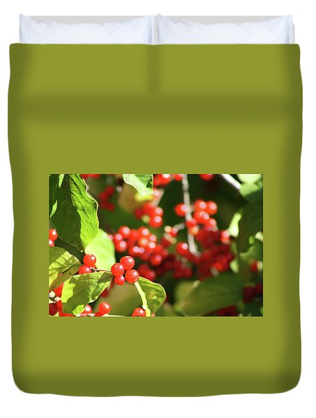 Close Up Of Red Berries Duvet Cover