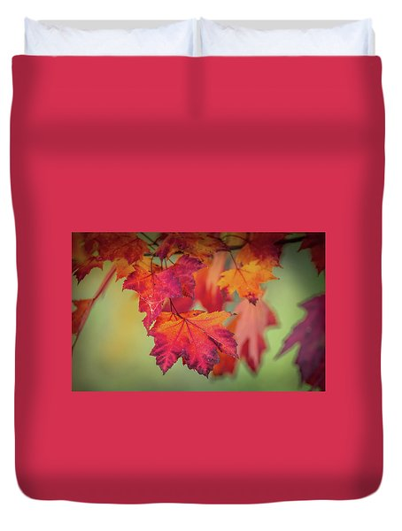 Close-up Of Red Maple Leaves In Autumn Duvet Cover