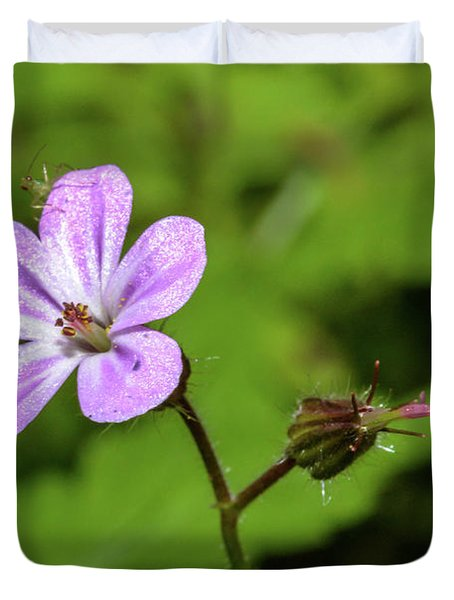 Close Up Of Shining Cranesbill A Duvet Cover